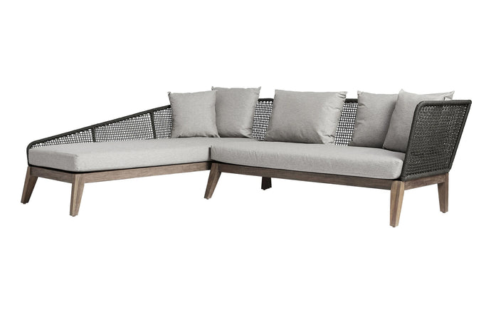 Netta Outdoor Left Sectional Sofa by Modloft - Feather Gray Fabric.