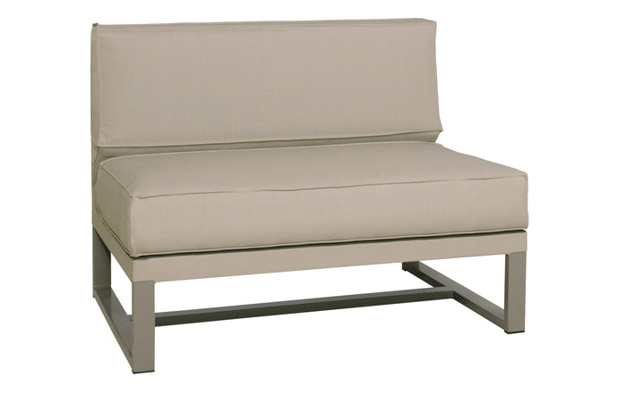 Mono 1-Seater Sectional Seat by Mamagreen - Taupe Powder Coated Stainless Steel, Taupe Sunbrella Cushion.
