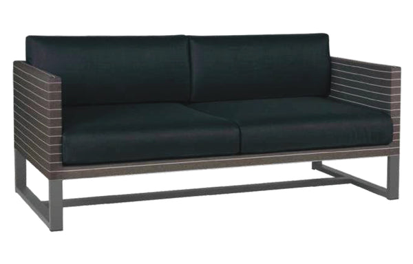 Mono 2-Seater Sofa by Mamagreen - Anthracite Powder Coated Stainless Steel, Pinstripe Mocca Twitchell Leisuretex, Black Sunbrella Cushion.