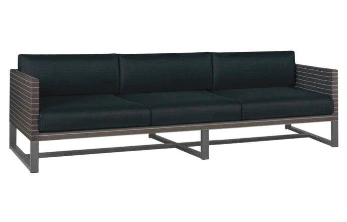Mono 3-Seater Sofa by Mamagreen - Anthracite Powder Coated Stainless Steel, Pinstripe Mocca Twitchell Leisuretex, Black Sunbrella Cushion.