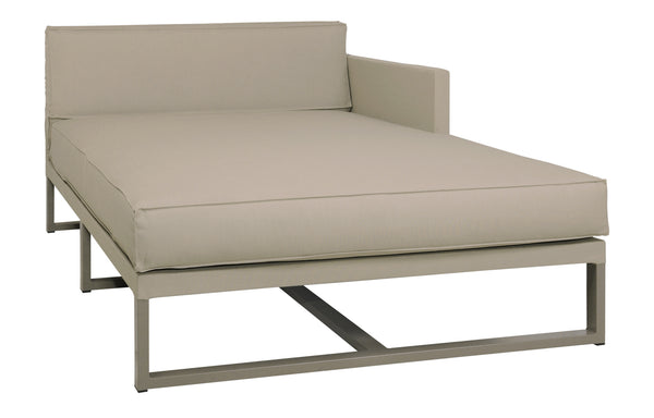 Mono Left Hand Chaise by Mamagreen - Taupe Powder Coated Stainless Steel, Taupe Sunbrella Cushion.