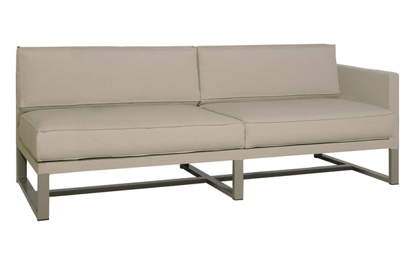 Mono Left Hand Sectional by Mamagreen - Taupe Powder Coated Stainless Steel, Taupe Sunbrella Cushion.