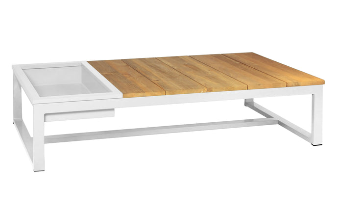 Mono Long Coffee Table with Ice Bin by Mamagreen - Urban White Aluminum.