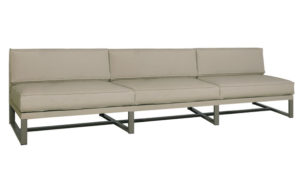 Mono Long Sectional Seat by Mamagreen - Taupe Powder Coated Stainless Steel, Taupe Sunbrella Cushion.