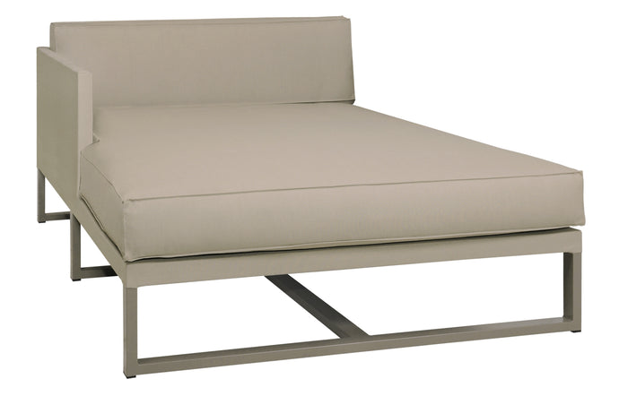 Mono Right Hand Chaise by Mamagreen - Taupe Powder Coated Stainless Steel, Taupe Sunbrella Cushion.