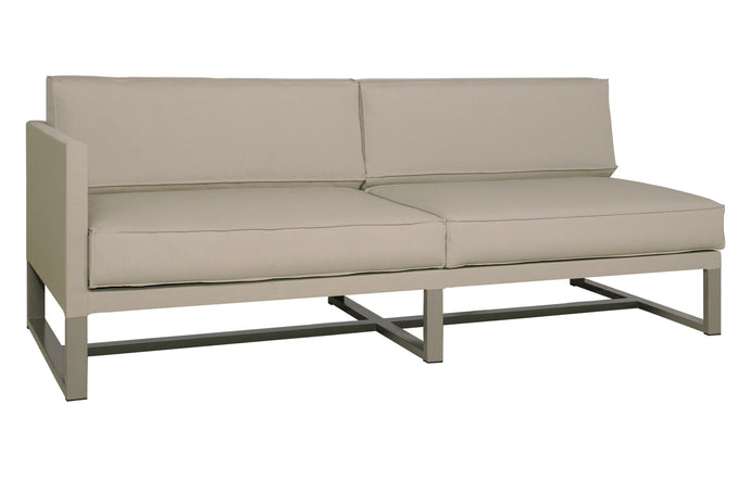 Mono Right Hand Sectional by Mamagreen - Taupe Powder Coated Stainless Steel, Taupe Sunbrella Cushion.
