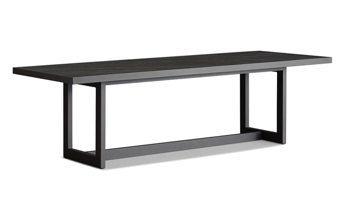 Montauk Dining Table by Harbour - Asteroid Aluminum + Laminam Noir.