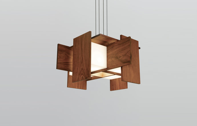 Muto LED Pendant by Cerno - Walnut Wood.