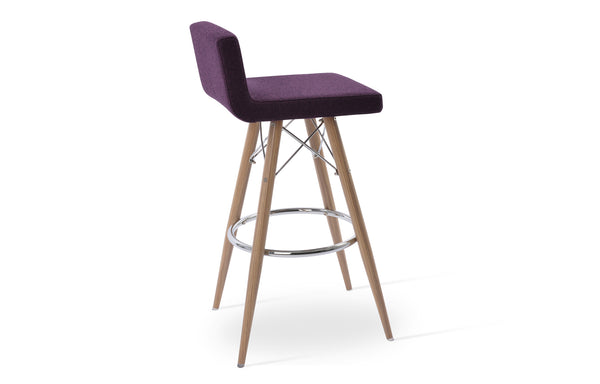Dallas MW Stools by SohoConcept - Natural Veneer Steel, Camira Blazer Deep Maroon Wool