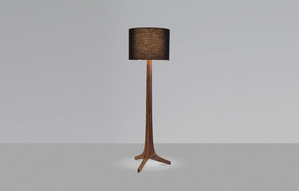 Nauta LED Floor Lamp by Cerno - Black Amaretto Shade, Dark Stained Walnut+No Shelf.