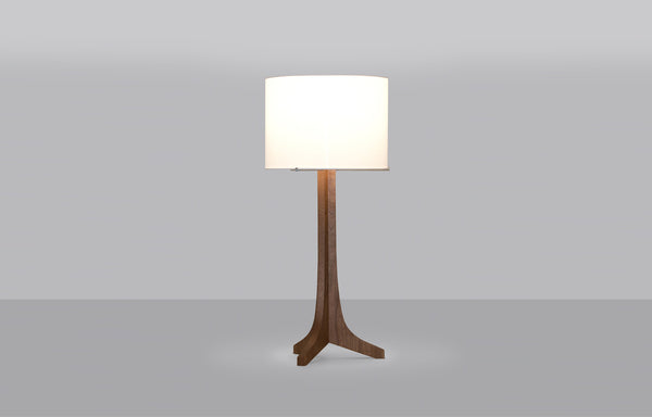 Nauta LED Table Lamp by Cerno - Walnut Wood, White Linen Shade.