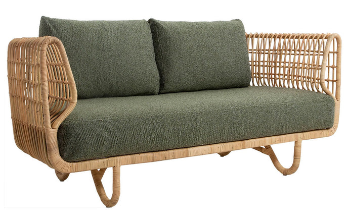 Nest Indoor 2-Seater Sofa by Cane-Line - Dark Green Wove Cushion Set.
