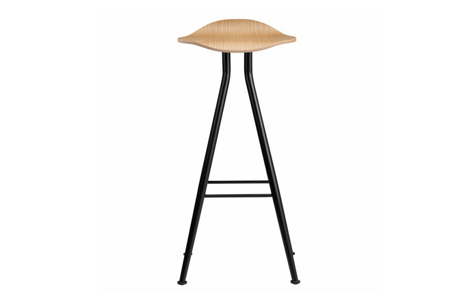 Barfly Low Bar Stool by Norr11 - Black Iron Legs, Natural Solid Oak, No Upholstery.