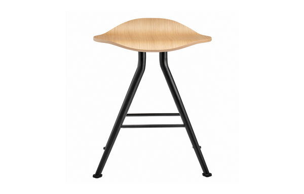 Barfly Stool by Norr11 - Black Iron Legs, Natural Oak Veneer Seat.