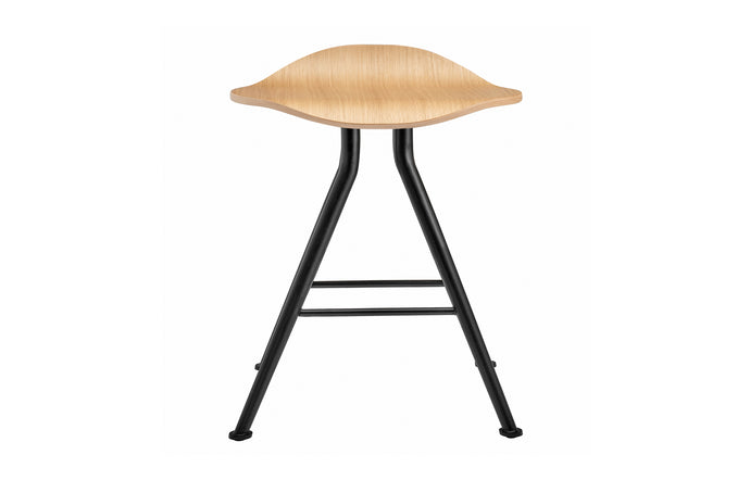 Barfly Stool by Norr11 - Black Iron Legs, Natural Solid Oak, No Upholstery.