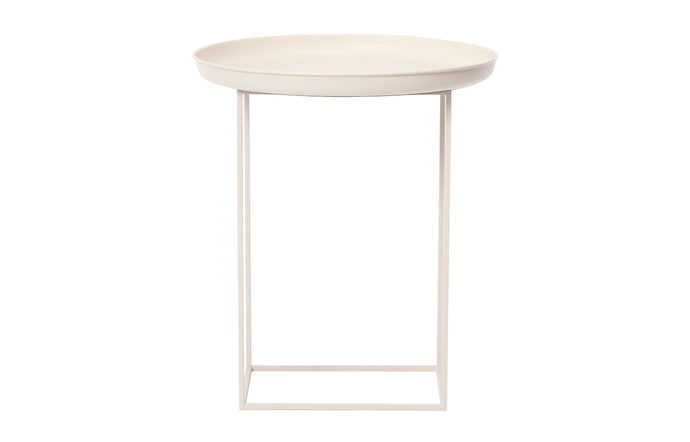 Duke Table by Norr11 - Small, Antique White Aluminium.