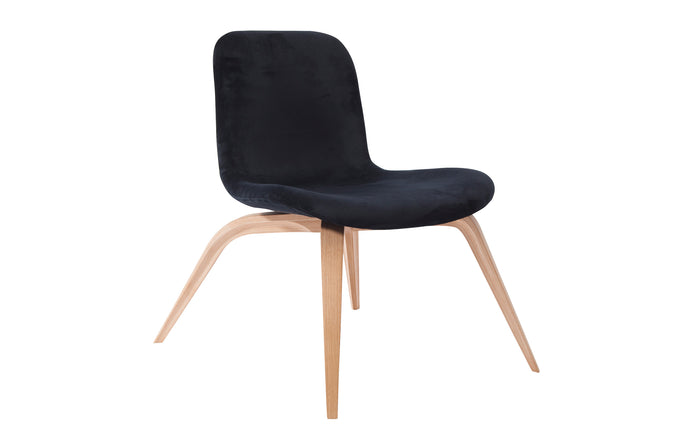 Goose Fabric Lounge Chair by Norr11 - Natural Oak Veneer, Midnight Blue Velvet.