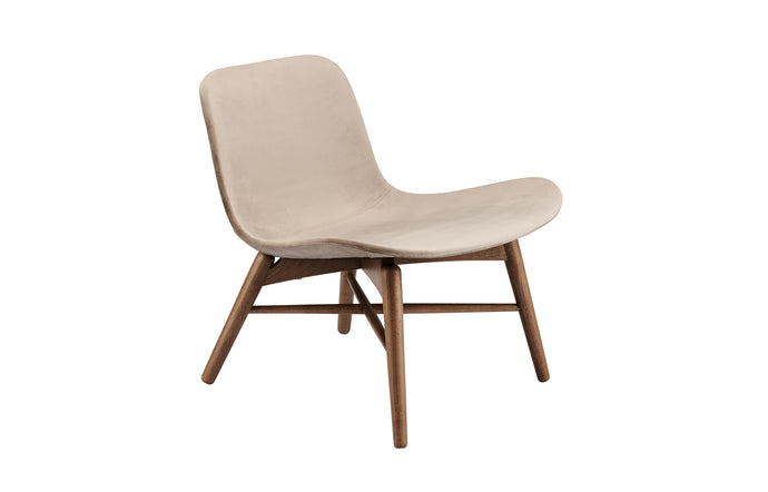 Langue Original Lounge Chair by Norr11 - Dark Stained Beech Wood, Taupe Velvet.