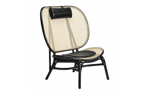 Nomad Chair by Norr11 - Black Molded Bamboo Frame/Black Aniline Leather.