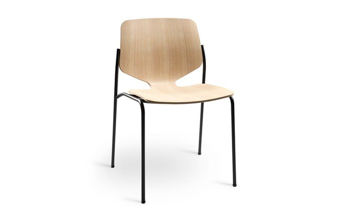 Nova Dining Chair by Mater - Natural/Gun Metal Steel Frame.