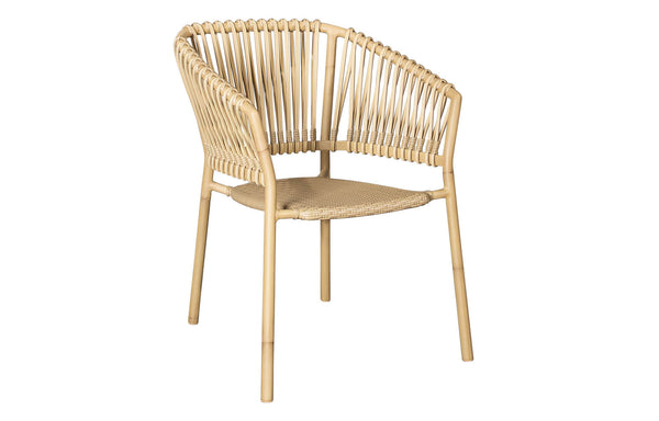 Ocean Stackable Natural/Aluminum Dining Chair by Cane-Line - No Cushion Set.