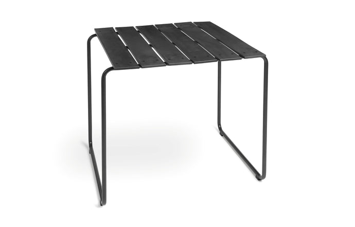 Ocean Table by Mater - Square, Black Recycled Plastic/Gun Metal Frame.