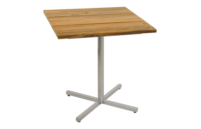 Oko Pedestal Table by Mamagreen - Hairline Original Stainless Steel.