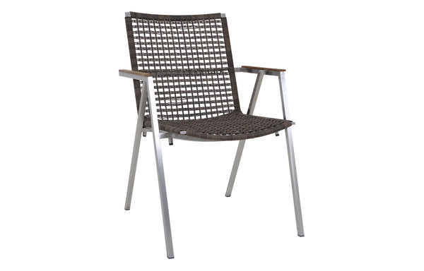 Olaf Dining Armchair by Mamagreen - Hairline Original Stainless Steel, Pepper Round Wicker.