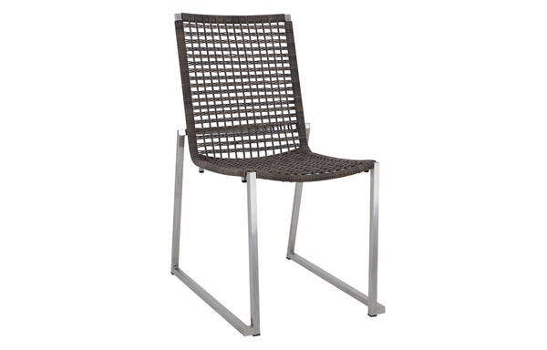 Olaf Dining Side Chair by Mamagreen - Hairline Original Stainless Steel, Pepper Round Wicker.
