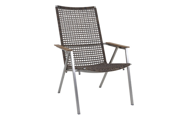 Olaf Easy Armchair by Mamagreen - Hairline Original Stainless Steel, Pepper Round Wicker.