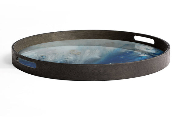 Organic Glass Round Tray by Ethnicraft - Blue Mist Organic