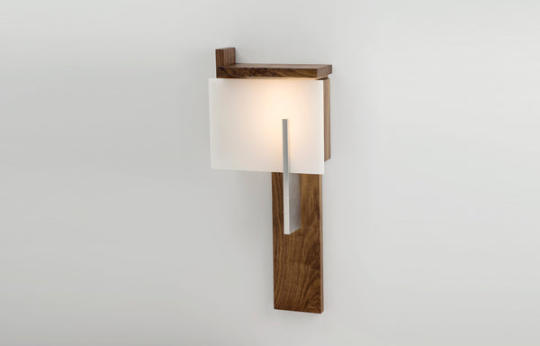Oris LED Sconce by Cerno - Walnut Wood + Brushed Aluminum Metal.