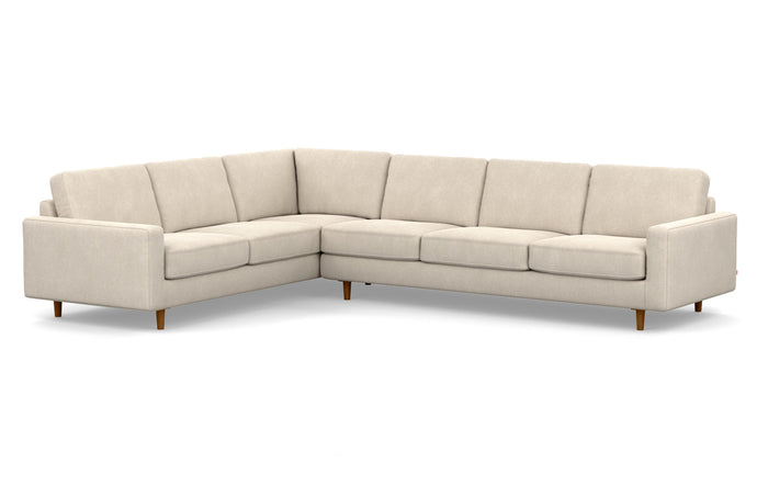 Oskar 2-Piece Fabric Left Hand Facing Sectional Sofa by EQ3 - Coda Beach Fabric, Walnut Legs.