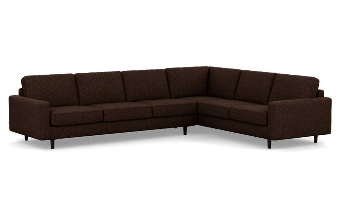 Oskar 2-Piece Fabric Right Hand Facing Sectional Sofa by EQ3 - Lana Brown Fabric, Black Ash Legs.