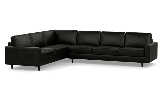 Oskar 2-Piece Leather Left Hand Facing Sectional Sofa by EQ3 - Coachella Noir Leather, Black Ash Legs.