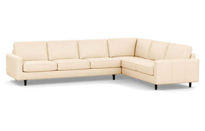 Oskar 2-Piece Leather Right Hand Facing Sectional Sofa by EQ3 - Sauve Canvas Leather, Black Ash Legs.