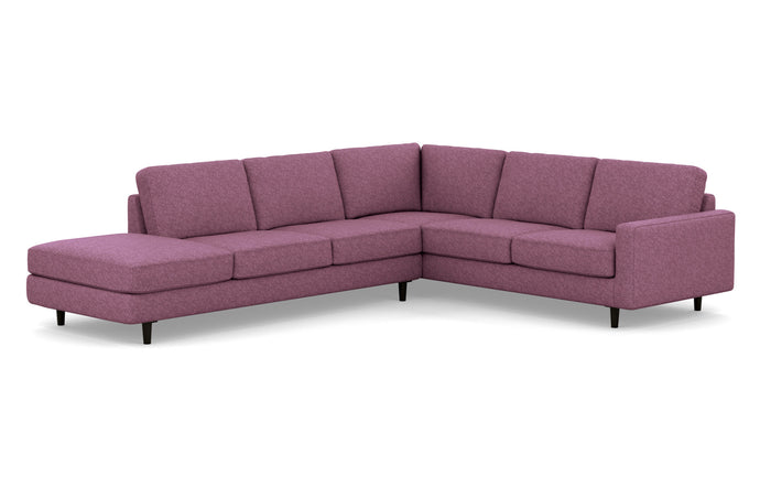 Oskar 2-Piece LHF Extended Backless Chaise Fabric Sectional Sofa by EQ3 - Lana Light Purple Fabric, Black Ash Legs.