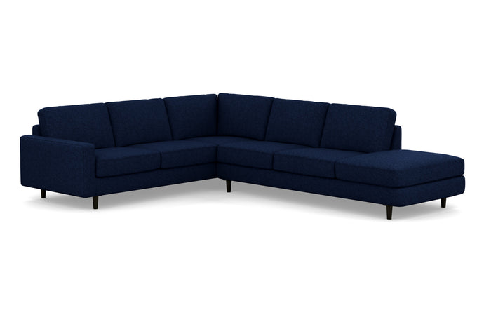 Oskar 2-Piece RHF Extended Backless Chaise Fabric Sectional Sofa by EQ3 - Lana Dark Blue Fabric, Black Ash Legs.