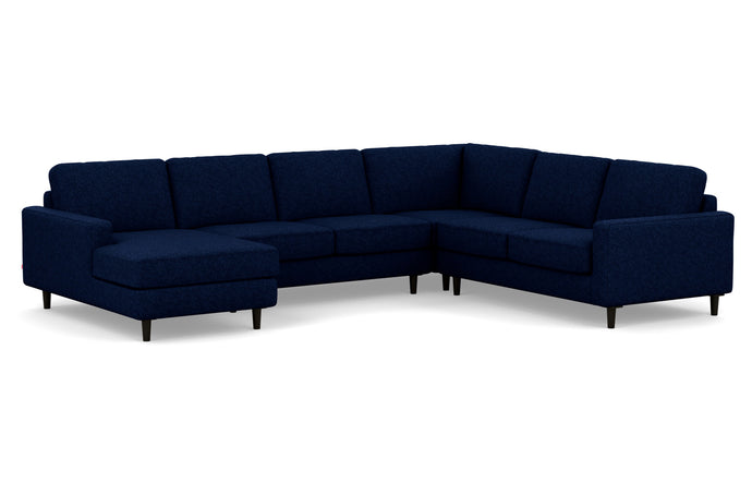 Oskar 4-Piece Fabric Sectional Sofa with Left Hand Facing Chaise by EQ3 - Lana Dark Blue Fabric, Black Ash Legs.