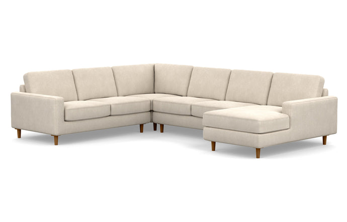 Oskar 4-Piece Fabric Sectional Sofa with Right Hand Facing Chaise by EQ3 - Coda Beach Fabric, Walnut Legs.