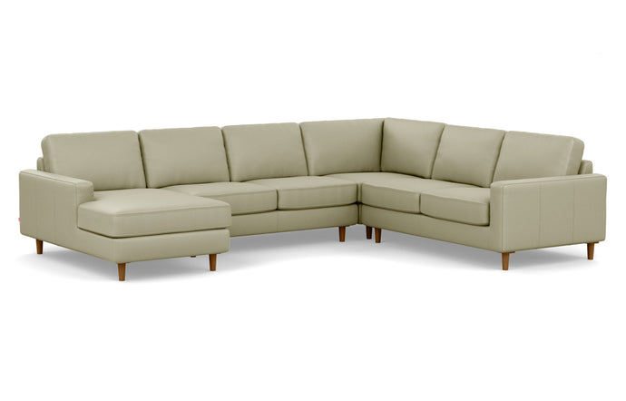 Oskar 4-Piece Leather Sectional Sofa with Left Hand Facing Chaise by EQ3 - Fino Soft Green Leather, Walnut Legs.