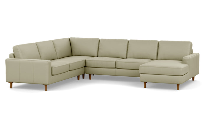 Oskar 4-Piece Leather Sectional Sofa with Right Hand Facing Chaise by EQ3 - Fino Soft Green Leather, Walnut Legs.