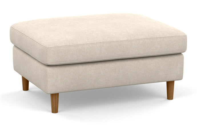 Oskar Fabric Mod Rectangular Storage Ottoman by EQ3 - Coda Beach Fabric, Walnut Legs.