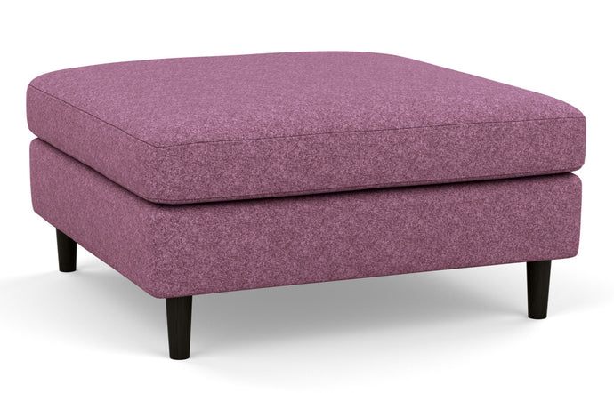 Oskar Fabric Square Ottoman by EQ3 - Lana Light Purple Fabric, Black Ash Legs.