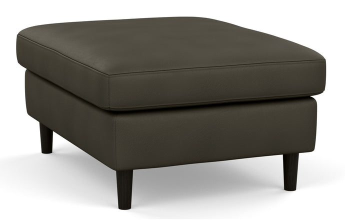 Oskar Leather Mod Rectangular Ottoman by EQ3 - Fino Cool Grey Leather, Black Ash Legs.