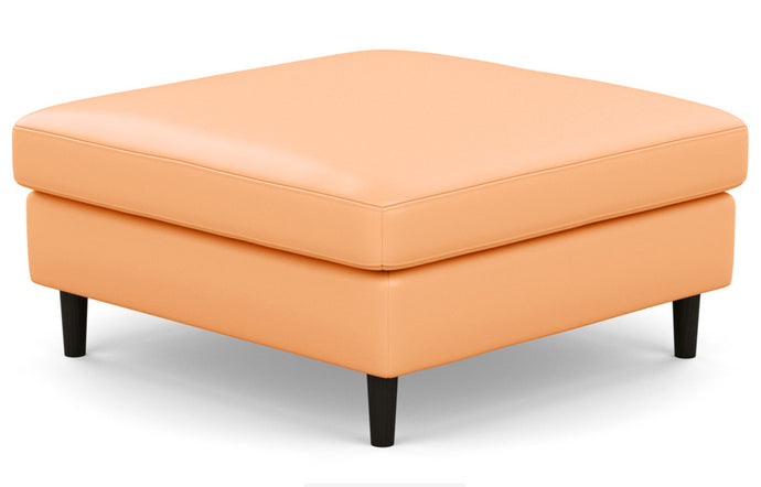 Oskar Leather Mod Square Storage Ottoman by EQ3 - Coachella Tan Leather, Black Ash Legs.
