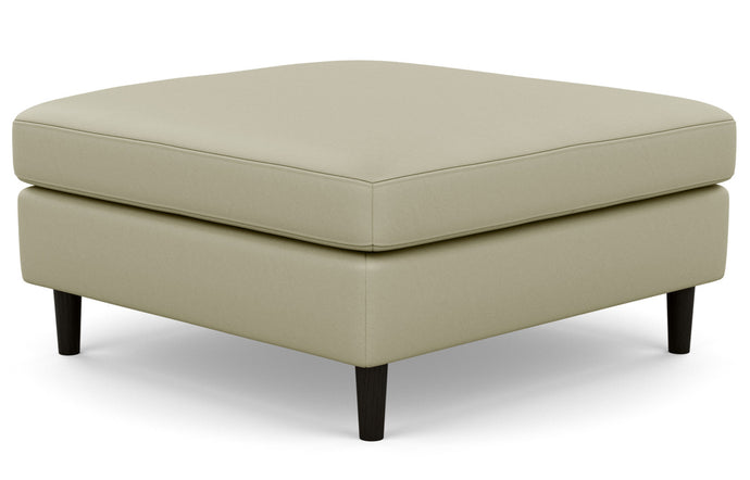 Oskar Leather Square Ottoman by EQ3 - Fino Soft Green Leather, Black Ash Legs.
