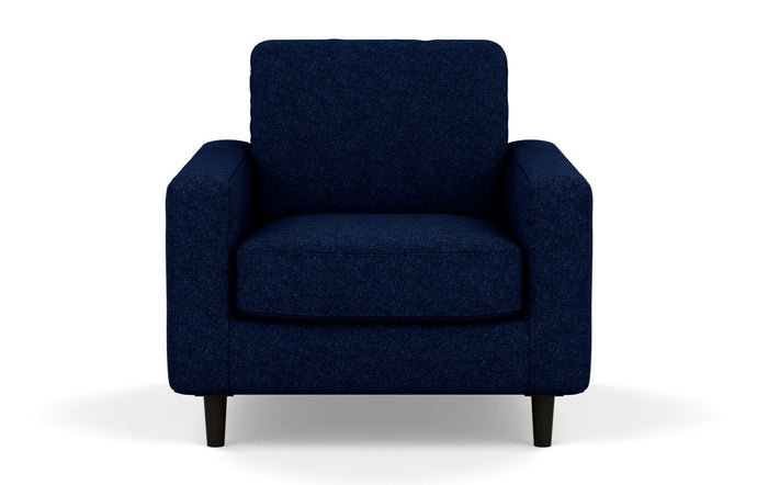 Oskar Stationary Fabric Chair by EQ3 - Lana Dark Blue Fabric, Black Ash Legs.