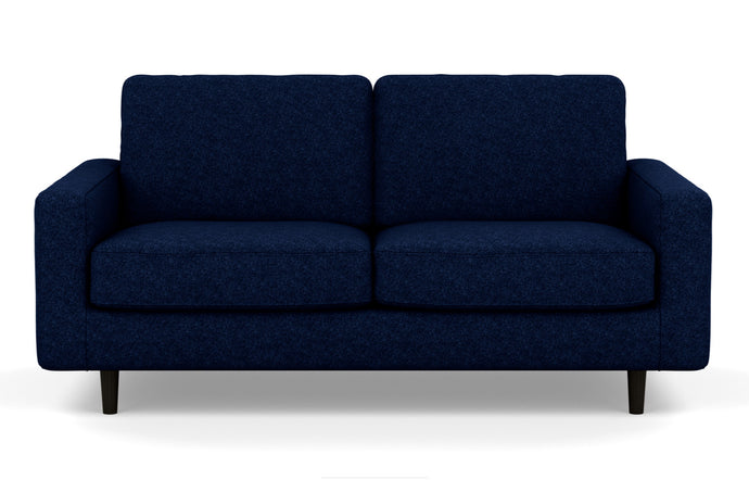 Oskar Stationary Fabric Loveseat by EQ3 - Lana Dark Blue Fabric, Black Ash Legs.