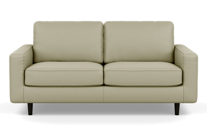 Oskar Stationary Leather Loveseat by EQ3 - Fino Soft Green Leather, Black Ash Legs.